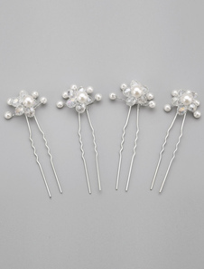 Gancho de cabelo de casamento de pérola branco 4 peças