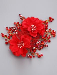 الأحمر صافي زهرة اللؤلؤ سبيكة الزفاف القبعات