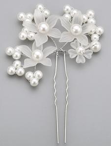 Moda branco liga casamento pérola Hairpin