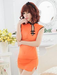 Disfraz Carnaval Cheongsam sintético naranja sexy para las mujeres Halloween Carnaval