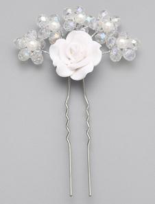 Prendendor de casamento liga pérola flor branca