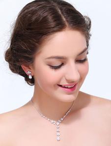 Liga de prata geométrica conjunto de jóias de casamento