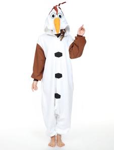 Kigurumi Pyjamas Frozen Olaf Onesie Snowman Унисекс Для Взрослых Белый Синтетический Костюм Талисмана