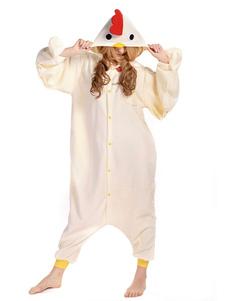 Pijama Kigurumi Pollo Onesie Beige Unisex Para Adulto Mascota Sintética Mascota Animal Disfraz Halloween