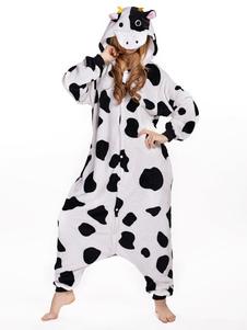 Pijama Kigurumi Onesie Vaca Blanco Unisex Para Mascota Sintética Adulta Animal Disfraz de Halloween