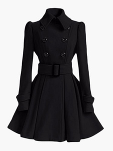 Trench Coat Para As Mulheres Urdidura Jacket Peacoat Casaco de Lã de Manga Longa anágua casaco