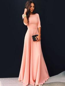 Vestido largo rosa  Moda Mujer Color liso con 1/2 manga Vestidos de Acetato de corte ajustada Vestido de Pick up con escote redondo Verano