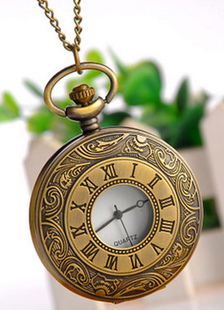 Vintage redondo reloj de bolsillo bronce aleación
