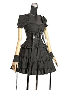Una sola pieza para las mujeres de negro algodón Gothic Lolita