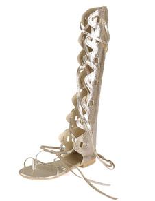 الذهب المصارع الصنادل المرأة تو الرباط الحذاء حتى صندل أحذية صنادل كعب العجل واسعة 2020