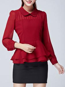 Blusa de Chiffon Peplum vermelho para mulheres