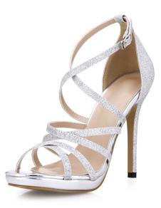 Sandálias gladiador Glitter prata para mulheres