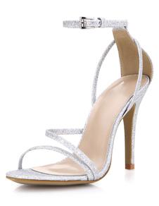 Серебряный вечер блеск и для новобрачных сандалии для женщин