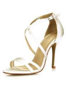 Sera in raso avorio fibbia & sandali da sposa per le donne