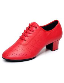 Красный круглый мыс зашнуровать коровьей джаз обувь