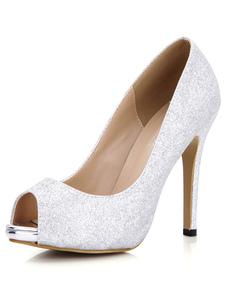 Noche de brillo Peep Toe y los zapatos de Novia de plata para mujeres
