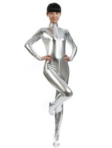 الفضة انغلق لامعة لامع دعوى Zentai للنساء هالوين