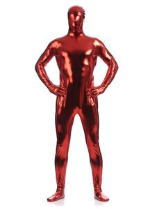 Zentai terno Negro vermelho brilhante metálico  para homens Halloween