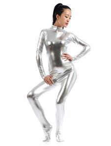 هالوين الفضة Zentai البدلة لامعة لامع Catsuit للنساء
