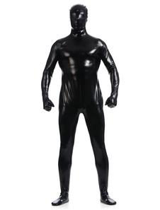 Disfraz Carnaval Negro metálico brillante Zentai trajes de hombres Halloween Carnaval