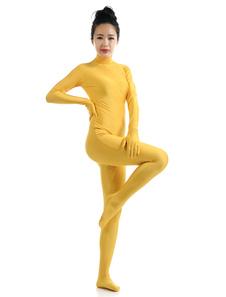 Amarelo Lycra Spandex Zentai terno para mulheres Halloween