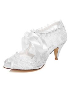 الدانتيل الأبيض أشرطة زقزقة اصبع القدم مضخات الزفاف للنساء