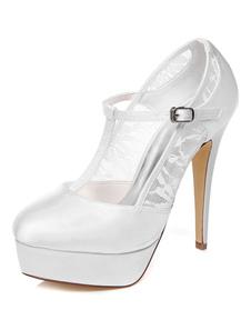 الدانتيل الأبيض منصة الساتان مضخات الزفاف للنساء