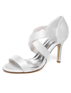 Bianco raso Open Toe sera & sandali da sposa per le donne