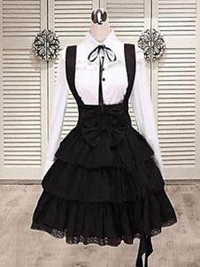 Vestido de Algodão preto alças Lolita Salopette de saia em camadas de babados