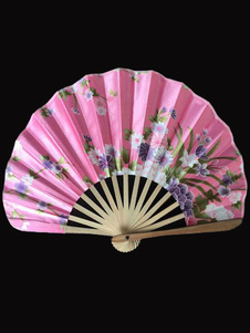 Japonês-de-rosa Floral bambu impressão fã