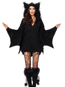 هالوين الأسود مصاص دماء اللباس ماردي غرا بات امرأة بوليستر زي هالوين