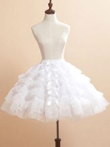 Bianco fiocchi Organza Lolita gonna per le donne
