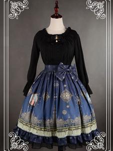 تنورة بطباعة زهرية باللون الأزرق للنساء