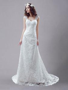 Белое свадебное платье королевы Анны Русалка с открытой спиной кружева свадебное платье