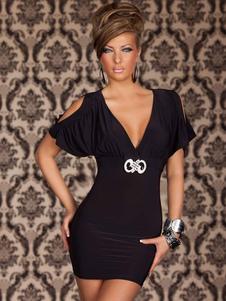 Negro Cold-Shoulder leche Vestido de seda atractivo para las mujeres