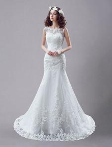 Белое свадебное платье Кружевные без спины Свадебные платья Стразы из бисера Русалка свадебное платье