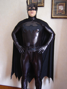 Черный зубчатые блестящих металлических Зентаи Бэтмен для мужчин & женщин Хэллоуин