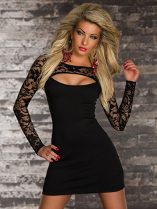 Abito sexy nero Club Club 2020 manica lunga tagliato vestito aderente per le donne