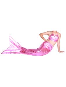 Disfraz Carnaval Sirena de cola metálico brillante rosa Animal Zentai Halloween Carnaval