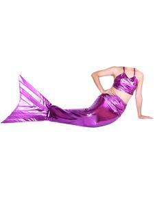 Disfraz Carnaval Sirena de cola metálico brillante fucsia Animal Zentai Halloween Carnaval