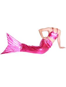 Disfraz Carnaval Rosa roja brillante metálico cola sirena Animal Zentai Halloween Carnaval