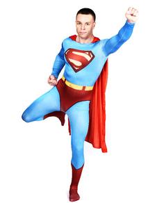 Синий Супермен спандекс лайкра Зентаи Хэллоуин