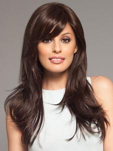 Браун наклонена бахромой длинный парик прямые волокна для женщин