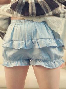 Luz azul Lolita Bloomers babados algodão Lolita Shorts para as mulheres