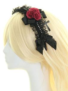 Fiore nero archi pizzo Lolita sintetico capelli accessori