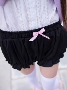 Lolita preto Bloomers arcos algodão Lolita Shorts para as mulheres