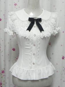 Белые бантики оборками шик хлопок Лолита рубашки для женщин