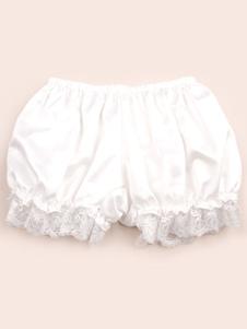 Blanco/Negro/Ligero Naranja Lolita Pantalones Bombachos Encaje Trim