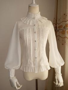 ホワイト 立ち襟 シフォン ロリィタブラウス ペザントスリーブ フリル スタンドカラー