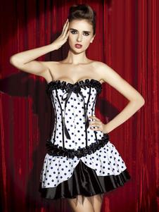 Blanco arcos Lolita-Vestido corsé de lunares para las mujeres